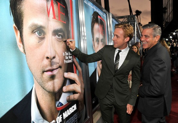 Ryan Gosling e George Clooney giocano sul Red Carpet di The Ides of March