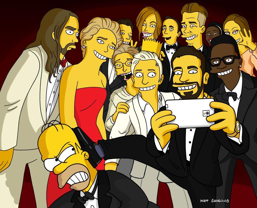 I Simpsons nel vero selfie di Ellen DeGeneres agli Oscar