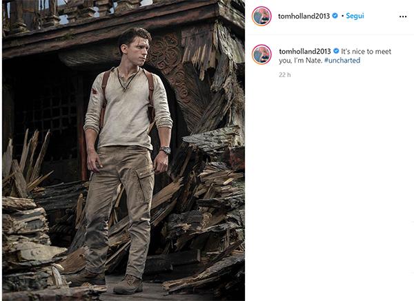 Uncharted: Tom Holland condivide una foto dal set